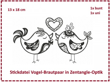 Vogel Brautpaar Zentangle 13x18 Stickdatei