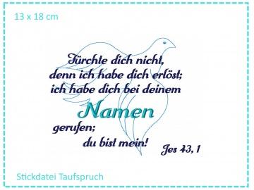 Taufe Spruch Taube 13x18 Stickdatei