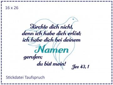 Taufe Spruch Taube 16x26 Stickdatei