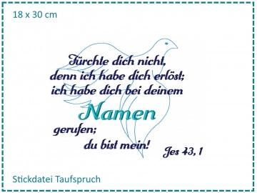 Taufe Spruch Taube 18x30 Stickdatei