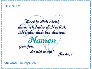 Taufe Spruch Taube SET Stickdatei