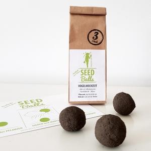 3 x Blumen-Seedballs 'Vogelhochzeit' | 3er Packung Seedbombs mit bunter Sommerblumenmischung | Geschenkidee