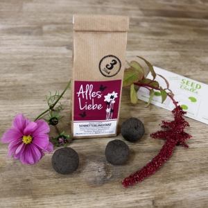 Special-Edition Blumen-Seedballs 'Schmetterlingstanz - Alles Liebe' - 3er Packung Seedbombs mit Sommerblumenmischung   Geschenkidee für verschiedene Anlässe