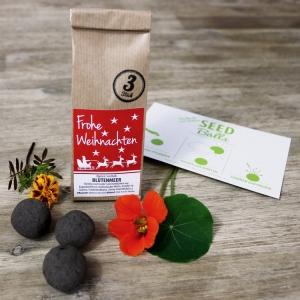 Weihnachts-Edition - 3er Packung 'Blütenmeer' Seedbombs | Geschenkidee zu Weihnachten | Blumen-Seedbombs mit Weihnachtsgrüßen