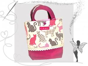 Kleine Kindergartentasche mit Katzenmotiv  für Mädchen