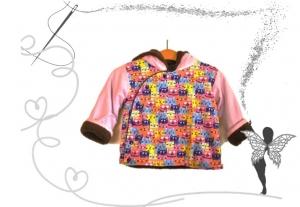 Bunte,handgenähte Katzen-Mädchen-Winterjacke,rosa,Gr.80,Babyjacke - Handarbeit kaufen