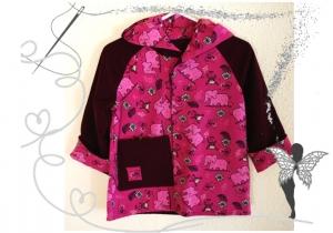 Lila,rosa Wendejacke Gr.92 für Mädchen mit Zootieren - Handarbeit kaufen
