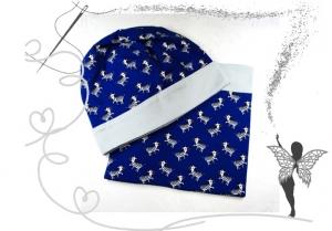 Schlauchschal und Mütze im Set grau,blau mit Zebras,Gr.50/52, 3/5Jahre - Handarbeit kaufen