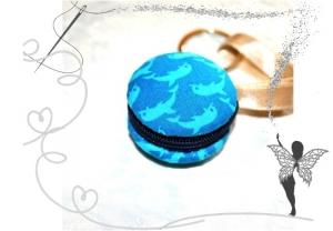 Macaron Schlüsselanhänger mit Delphin türkis ,Einkaufswagenchip,Täschchen