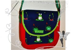 Bunte handgenähte Kindergartentasche mit Frosch Motiv