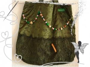 Extravagante, einzigartige Stofftasche mit Panflöte ,Spitze und Holzperlen      - Handarbeit kaufen