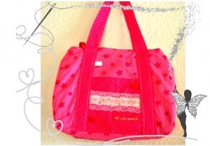 Schicke , kleine , rosa Kindertasche mit Spitzenbordüre für kleine Mädchen,Kindergartentasche - Handarbeit kaufen