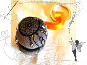 Macaron -Schlüsselanhänger mit Traumfänger Motiv, Einkaufswagenchip-Täschchen