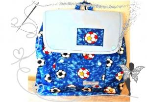 Handgenähter, farbenfroher Kinderrucksack mit  Fußball-Motiv,blau