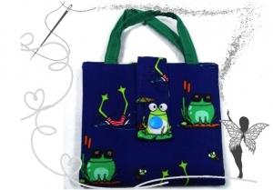 Bunte farbenfrohe Büchertasche,Minibuchhülle,Ordnungshilfe,mit Froschmotiv