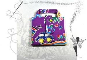 Bunte farbenfrohe Büchertasche,Bücherhülle,Ordnungshilfe,lila