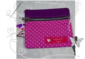 Praktischer Schlüsselanhänger mit Chiptäschchen ,rosa-lila.Patchwork - Handarbeit kaufen