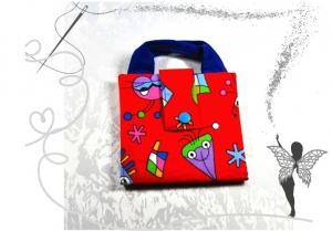 Bunte farbenfrohe Büchertasche, Bücherhülle,Ordnungshilfe ,rot - Handarbeit kaufen