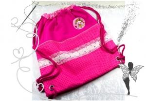 Prinzessin-Rucksack,Turnbeutel rosa,pink mit Glitzerspitze - Handarbeit kaufen