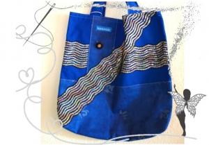 Einzigartige, handgenähte Stofftasche,blau mit Glitzerbordüre,Einkaufstasche - Handarbeit kaufen