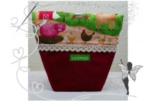 Vespertäschchen Bauernhof,Lunchtasche,Frühstückstasche für Kinder
