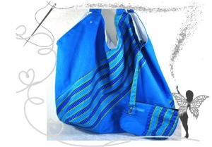Leichte,blaue  Schoppertasche ,Strandtasche,Umhängetasche im ansprechenden Disign. - Handarbeit kaufen