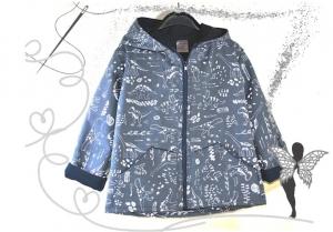 Dino-Softshelljacke Gr.122, blaue Jungenjacke,reflecktierende Dinowelt - Handarbeit kaufen