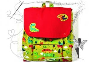 Handgenähter, farbenfroher Kinderrucksack mit  Dinosaurier - Handarbeit kaufen