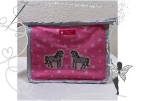 Kleine,rosa Kulturtasche mit Pferden im Sternenhimmel - Handarbeit kaufen