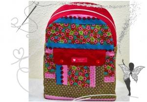 Bunter handgemachter Rucksack ,rosa,mit Blumenmotiv ,für Kinder ab 6 Jahren