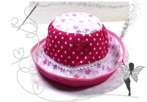 Handgemachter Sonnenhut für Kinder 3-6Jahren,Baumwolle,rosa,Sterne,pink - Handarbeit kaufen
