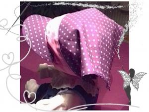 Schickes lila Kopftuch für Mädchen  3-6Jahren, lila ,rosaTupfen mit Gummiband - Handarbeit kaufen