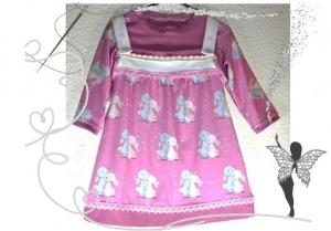 Verspieltes Trägerkleid mit Langarm-T-Shirt im Set,Gr.92/104,rosa Hasen mit Spitze - Handarbeit kaufen