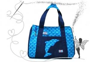 Schicke, kleine Mädchenhandtasche mit Delphin,türkis-blau