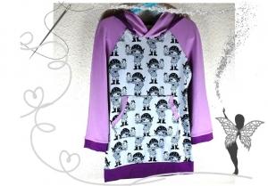 Tunika,Mädchenkleid Gr.116 mit starken Piratenmädchen,lila,flieder - Handarbeit kaufen
