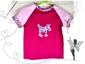 Pinkes Mädchen T-Shirt Gr.116 ,mit Hunde-Applikation,handgemacht