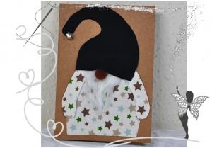 Wichtel-Weihnachtskarte,handgemacht mit Glöckchen - Handarbeit kaufen