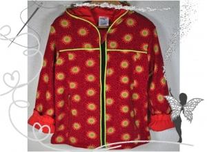 Reserviert-Mädchenjacke Gr.122/128,rot,Sonne,handgenäht,Übergangsjacke