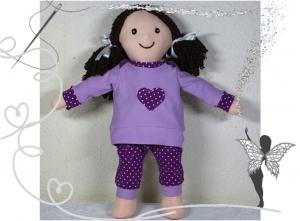 Süße Stoffpuppe zum Liebhaben,handgenäht,mit 3-teiligem Puppenkleiderset