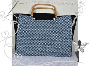 Schicke Einkaufstasche,Shoppertasche,Strandtasche mit Peddigrohr-Taschengriffen - Handarbeit kaufen