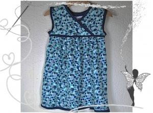 Farbenfrohes Mädchenkleid Gr.92,blau-grüne Punkte - Handarbeit kaufen