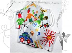Kinder-Behelfsmaske mit Nasenbügel ,bunte Welt,2-Stück,100%Baumwolle  - Handarbeit kaufen