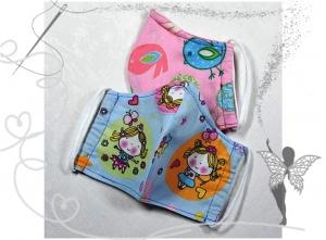 Kinder-Behelfsmaske mit Nasenbügel,Vögel-Prinzessin,2-Stück,100%Baumwolle