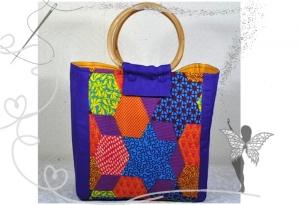 Farbenfrohe,kleine Einkaufstasche mit Peddigrohr-Taschengriffen,lila-bunt,Handarbeitstasche - Handarbeit kaufen