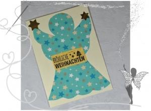 Weihnachtskarte mit Engel aus Stoff,handgemacht zu Weihnachten   - Handarbeit kaufen