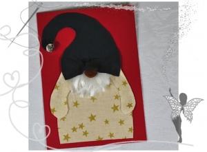 Wichtel-Weihnachtskarte,handgemacht mit Glöckchen