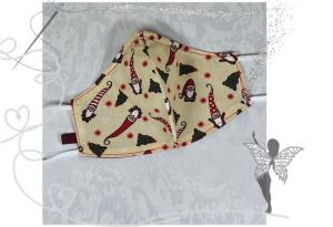 Behelfsmaske mit Nasenbügel ,2-lagig,100%Baumwolle,Wichtel - Handarbeit kaufen
