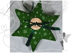 Grüner Stern mit Tasche für Geldgeschenke und liebe Botschaften