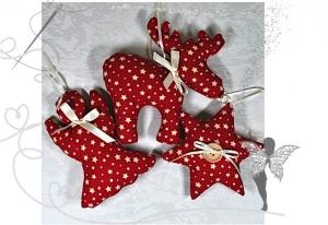 Elch,Stern und Engel im Set,Weihnachtsdekoration ,rot mit Sternen