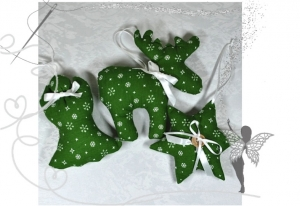 Elch,Stern und Engel im Set,Weihnachtsdekoration ,grün mit Sternen  - Handarbeit kaufen